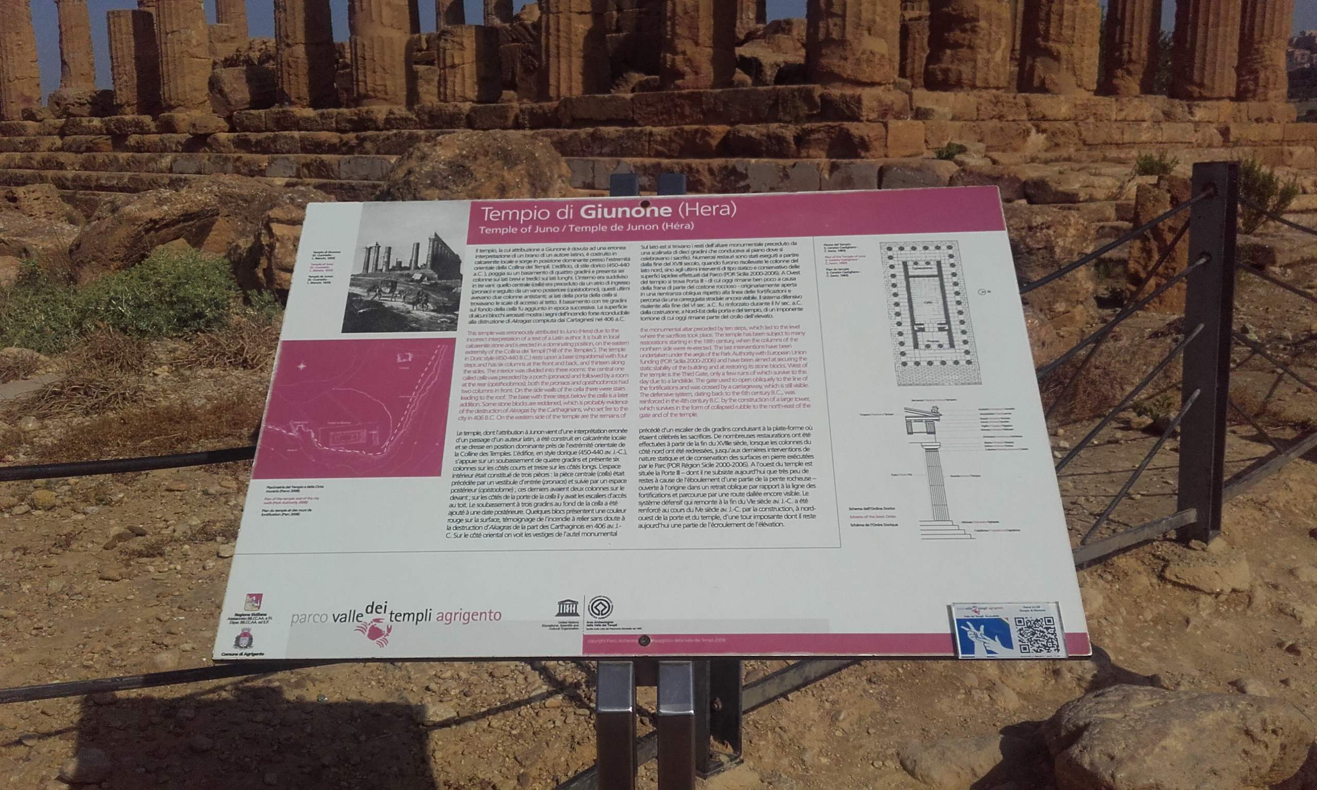 Panel explicativo del Templo de Hera