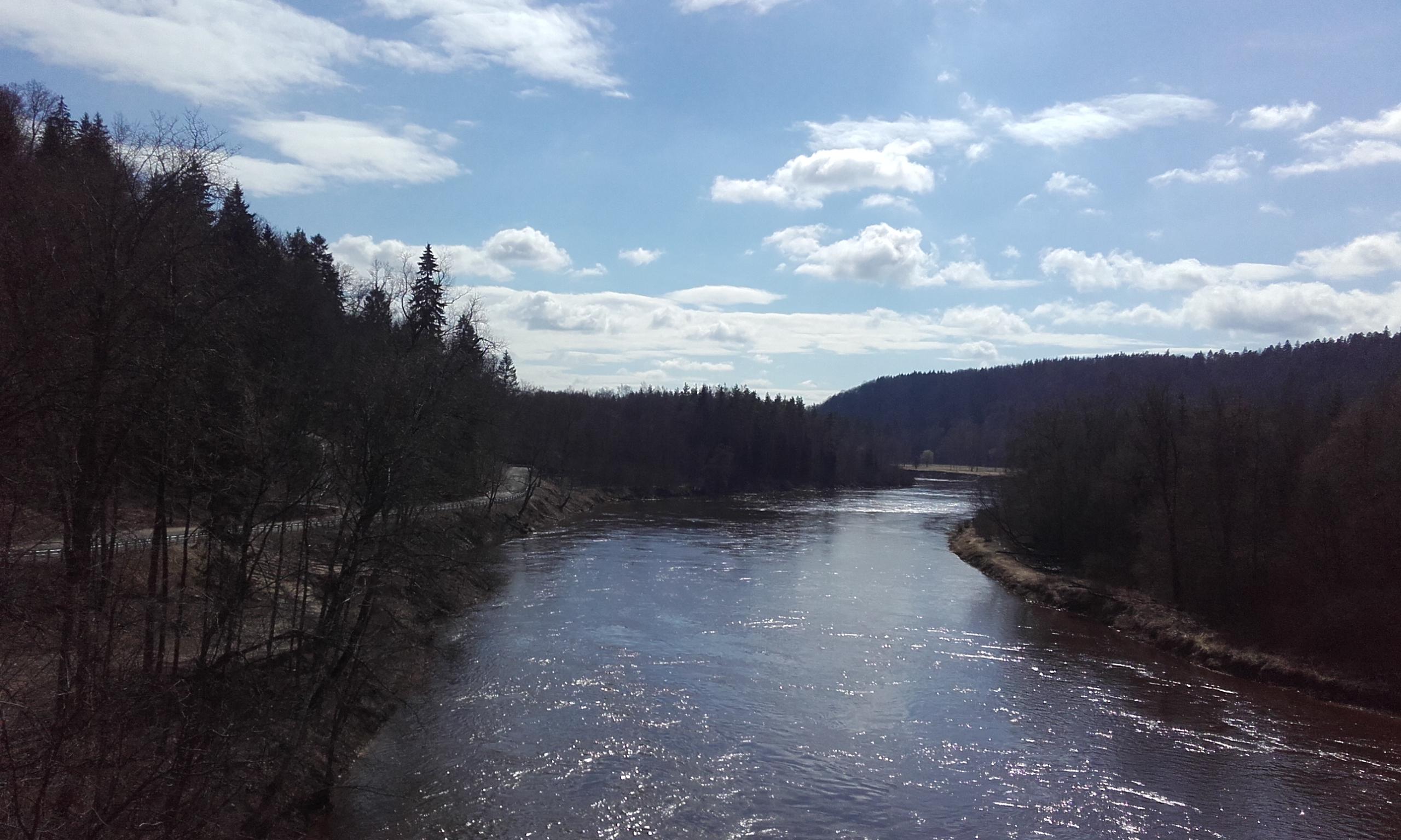 Atravesando el río en el Parque del Gauja