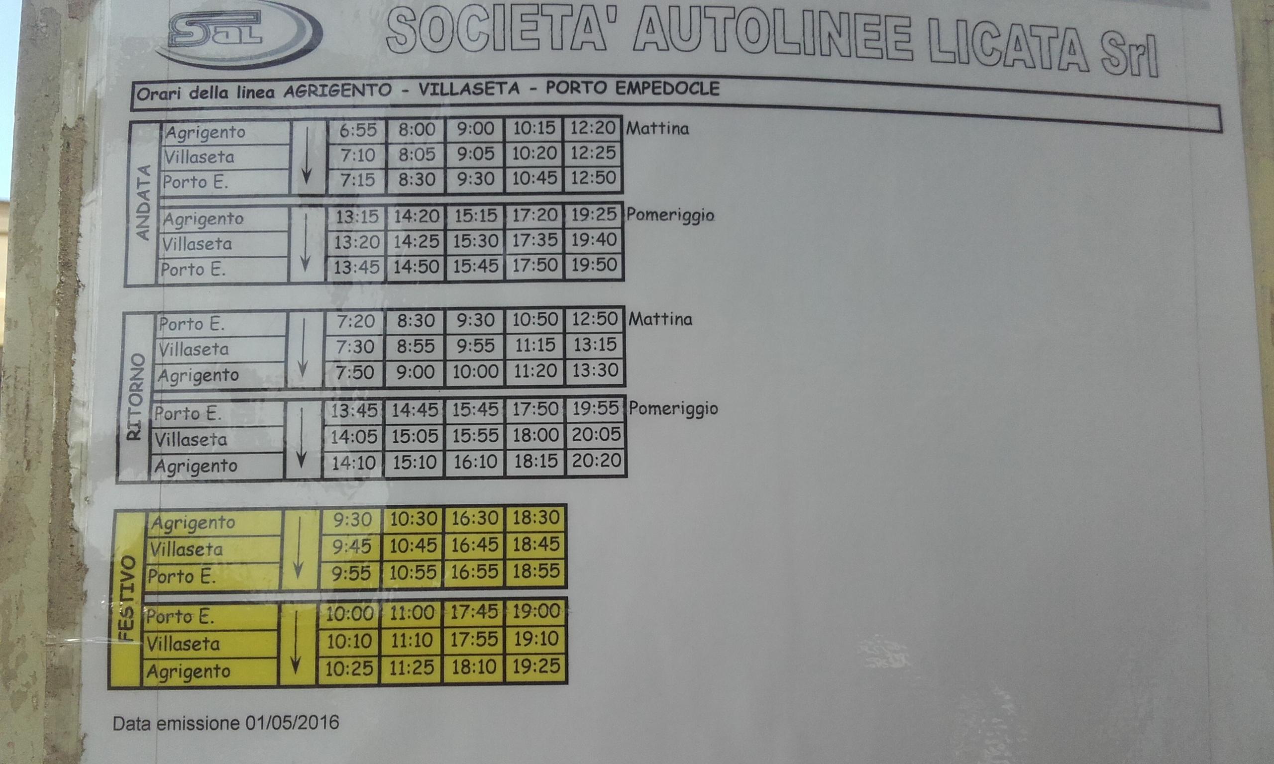 Los horarios del autobús de Agrigento a Porto Empedocle, y viceversa.