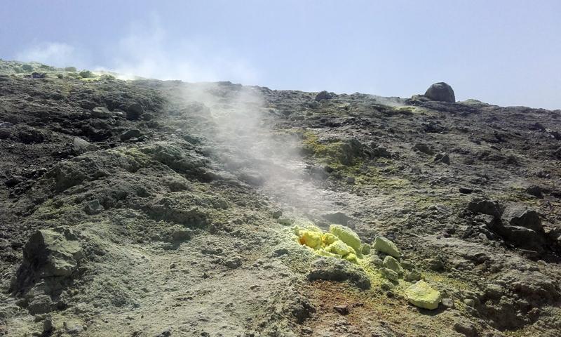 Las fumarolas del volcán
