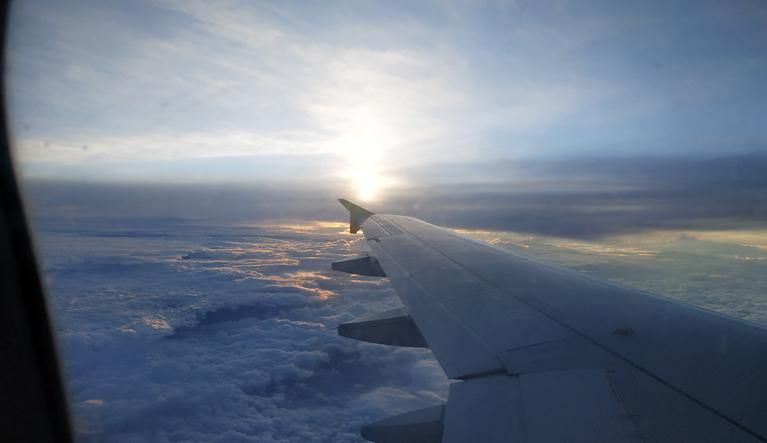Vistas desde el avión a Cracovia