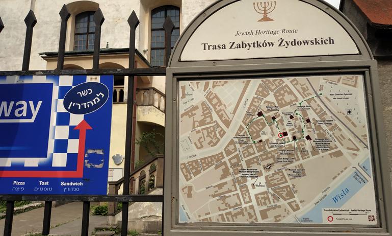 Mapa de la ruta por Kazimierz, el barrio judío