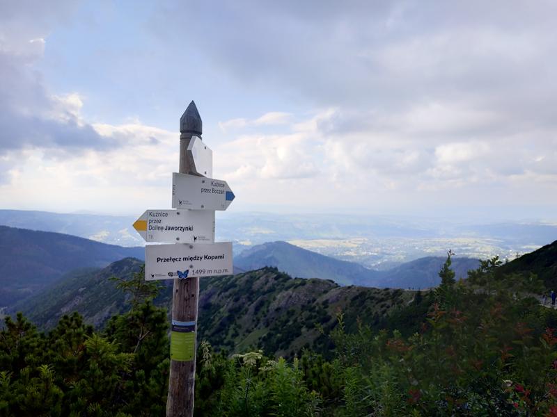 Cruce de rutas en Przełęcz Między Kopami